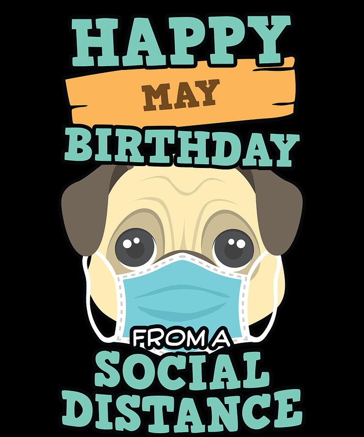 Birthday Gift Digital Art - Social Distancing Gift Happy May Birthday From A Pug Social Distance by Orange Pieces