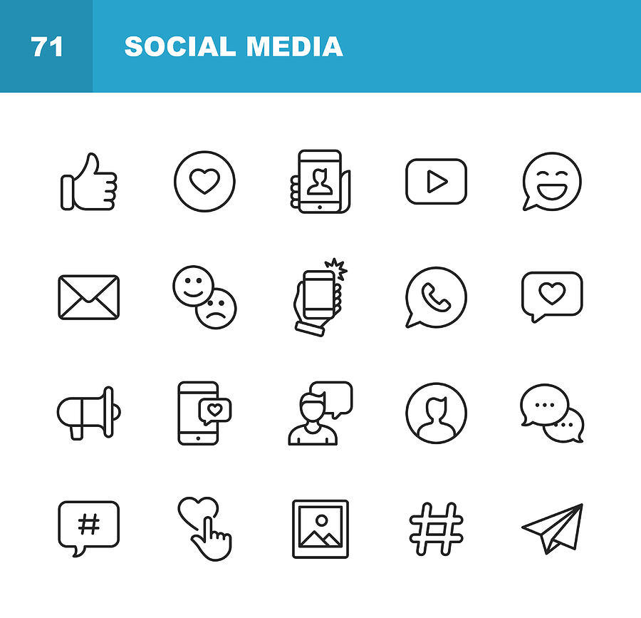 Social Media Line Icons. Editable Stroke. Pixel Perfect. For Mobile and Web. Contains such icons as Like Button, Thumb Up, Selfie, Photography, Speaker, Advertising, Online Messaging, Hashtag, User. Drawing by Rambo182