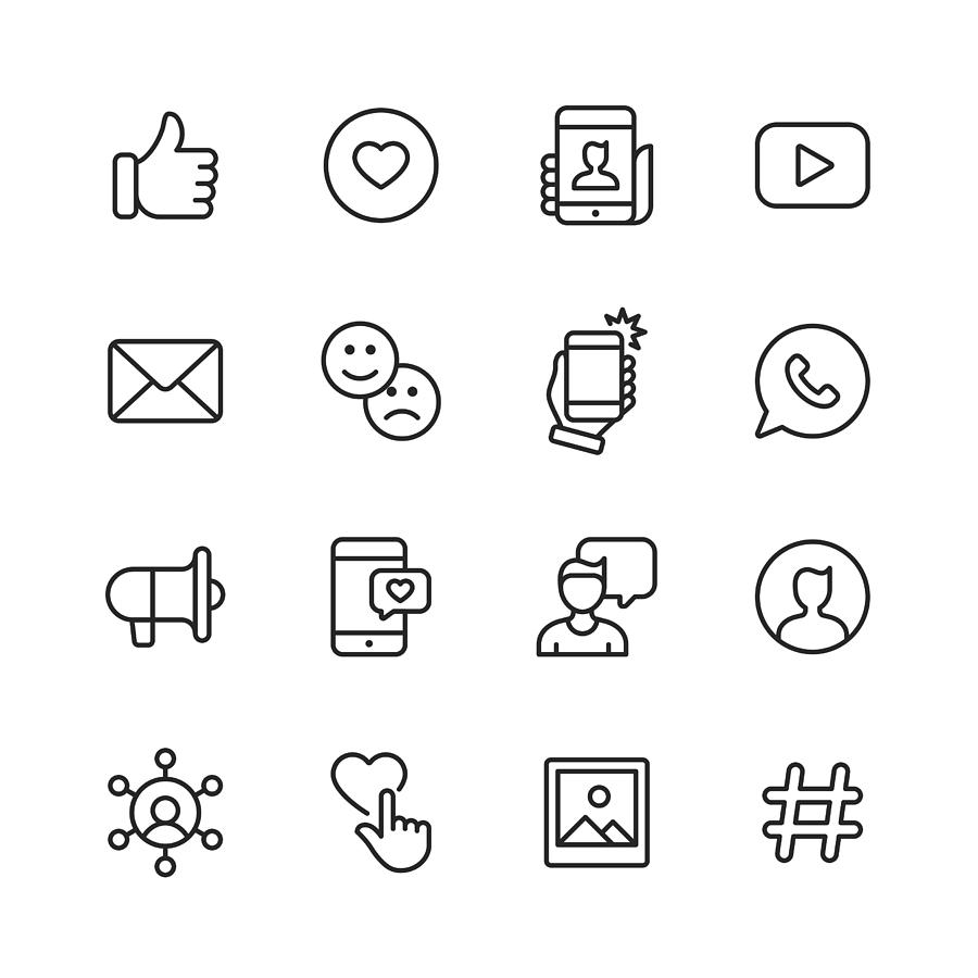 Social Media Line Icons. Editable Stroke. Pixel Perfect. For Mobile and Web. Contains such icons as Like Button, Thumb Up, Selfie, Photography, Speaker, Advertising, Online Messaging. Drawing by Rambo182