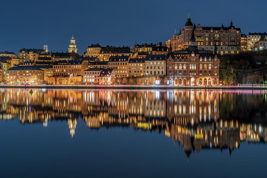 Stockholm Photograph - Sodermalm And Mariaberget Blue Hour Reflection by Dejan Kostic