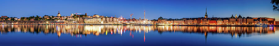 Stockholm Photograph - Sodermalm to Gamla Stan Reflection in the Baltic Sea by Dejan Kostic