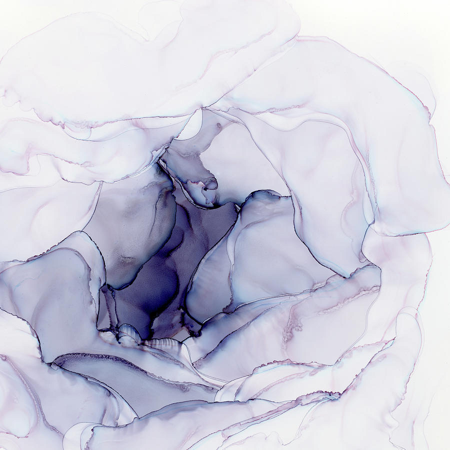 Abstract Ink Painting - Soft Abstract Flower by Olga Shvartsur