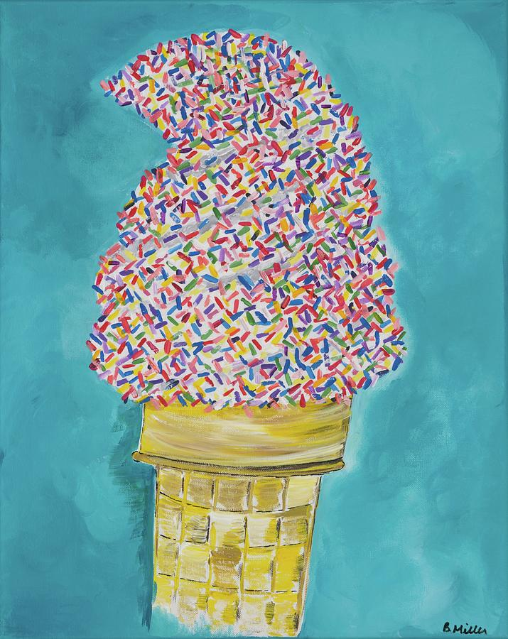 Ice Cream Painting - Soft Serve with Sprinkles by Britt Miller