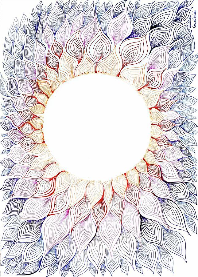 Solar Drawing - Solar floral pattern by Chirila Corina