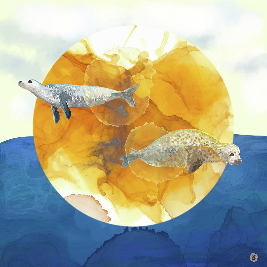 Seal Digital Art - Solar Seals - A Midsummer Nights Surreal Dream by Andreea Dumez