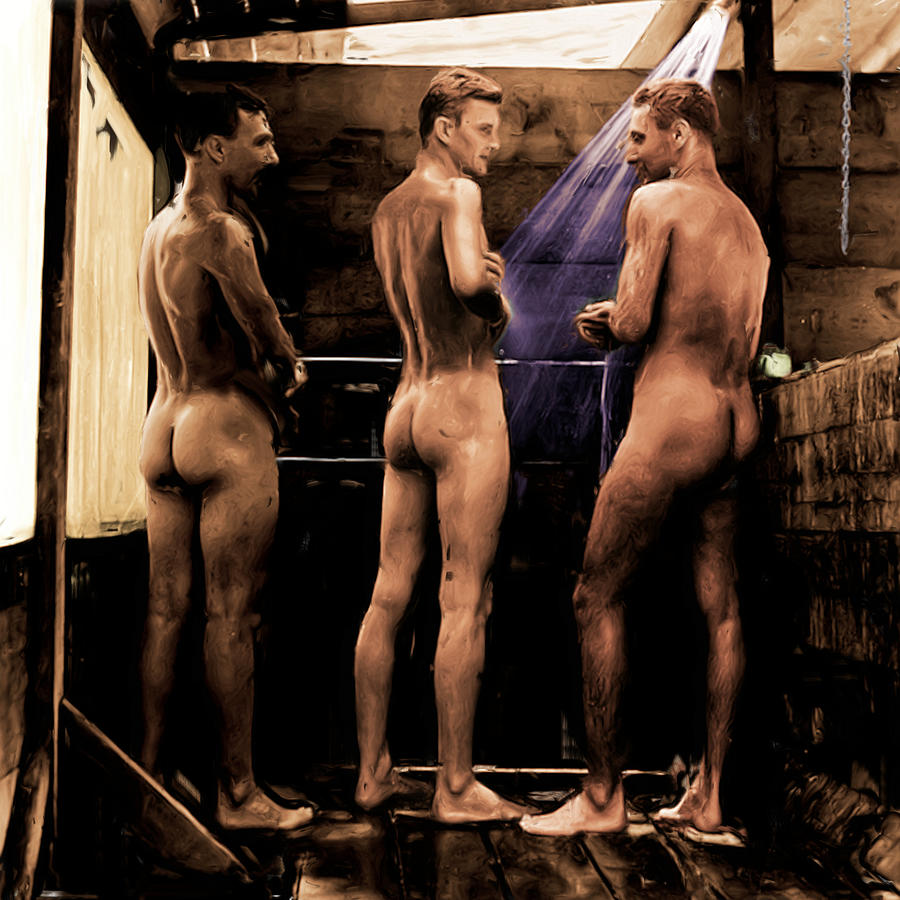 Soldiers in the Shower by Nude Male Art