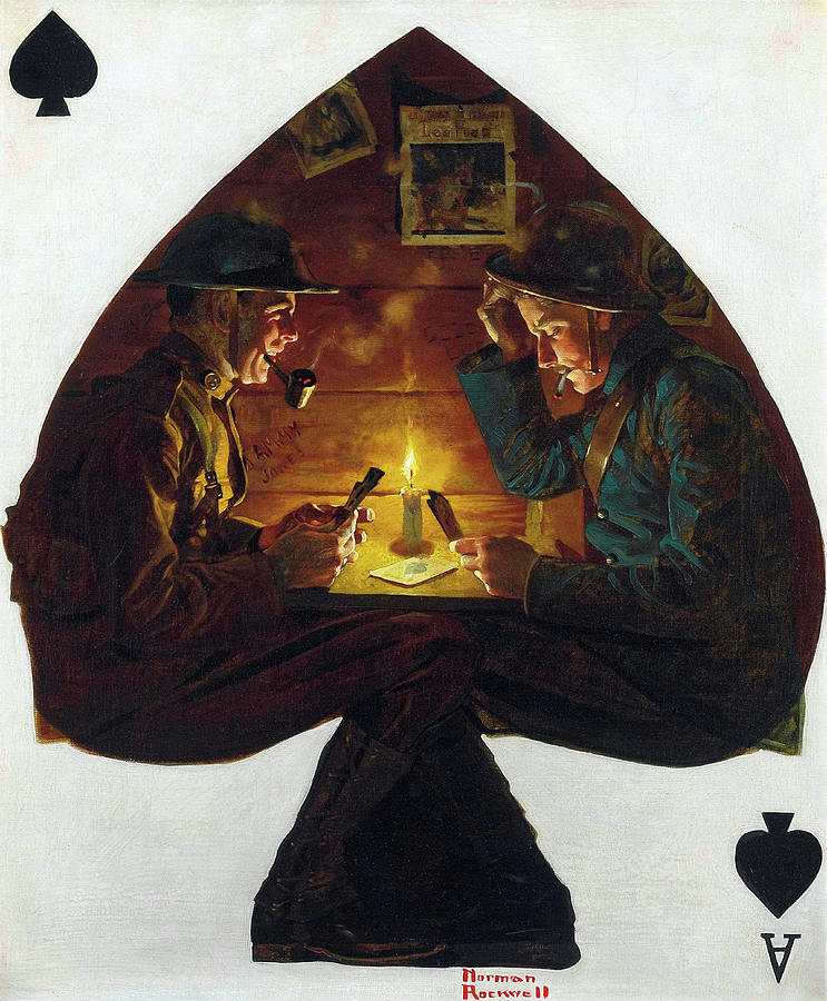Norman Rockwell Painting - Soldiers Playing Cards, 1918 by Norman Rockwell