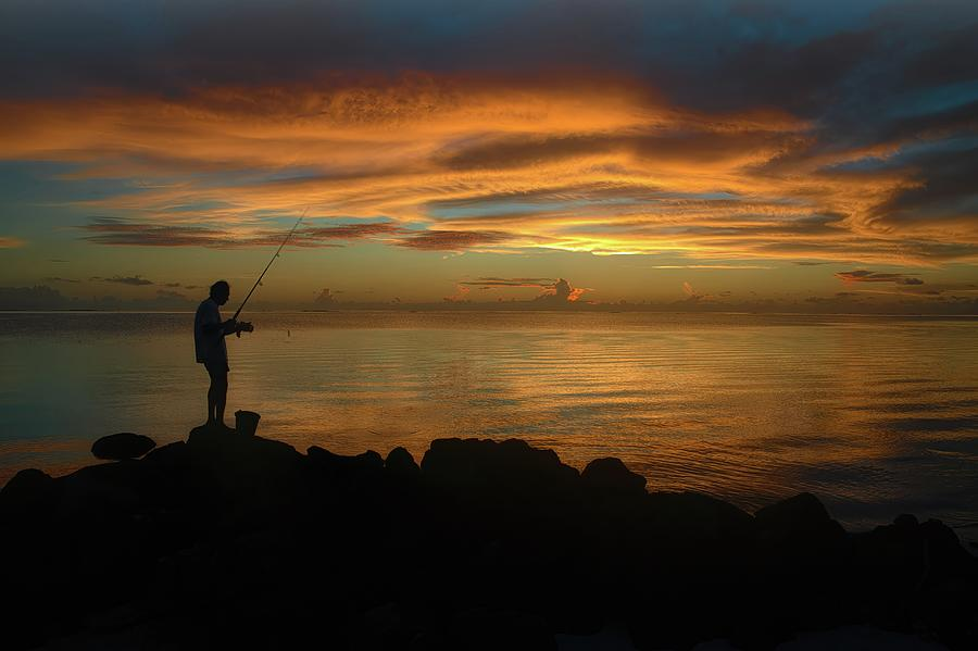 Solitary Sunset Fishing Photograph