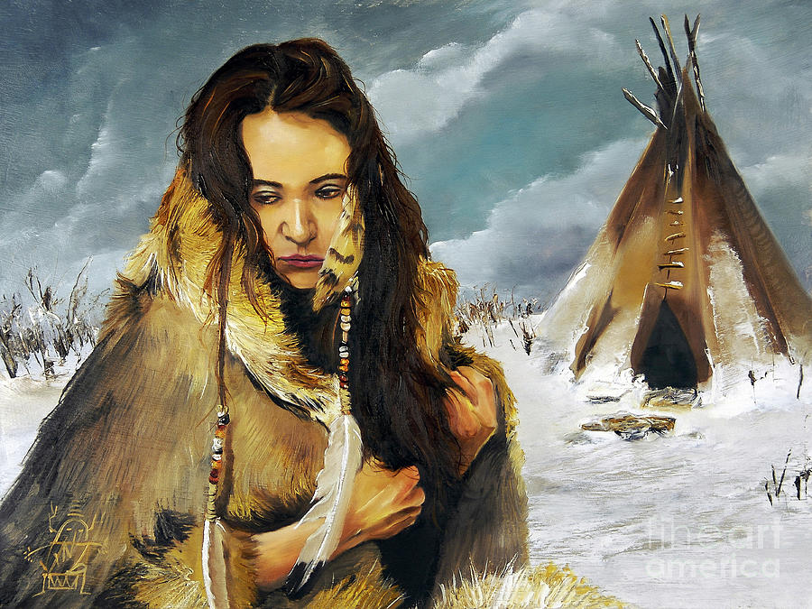 Native American Portraits Painting - Solitude by J W Baker