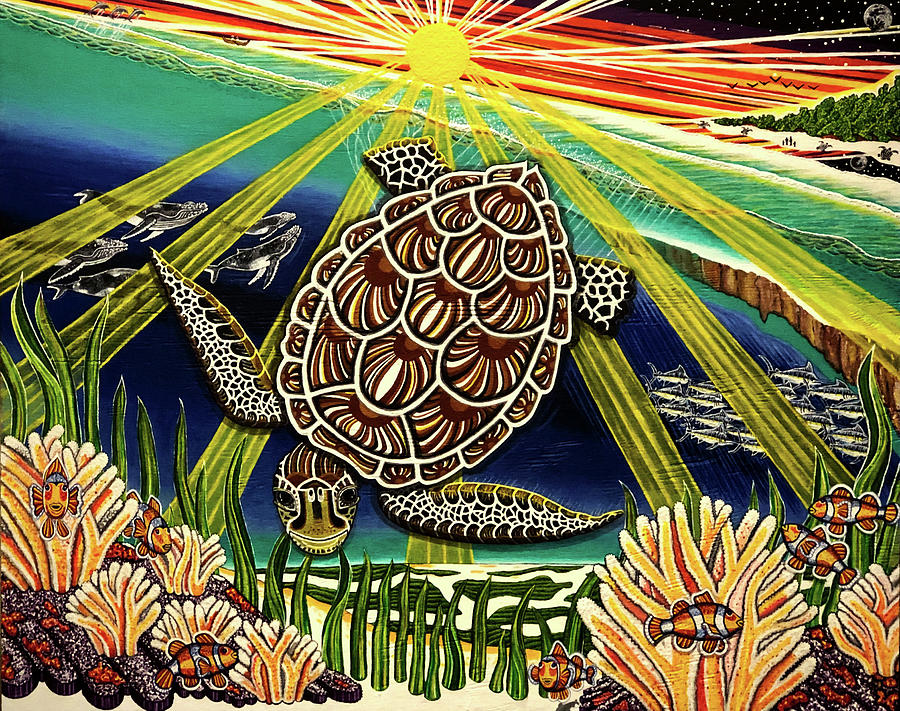 Ocean Painting - Son Rise - Lessons from a Sea Turtle named Mama by Far I Shields