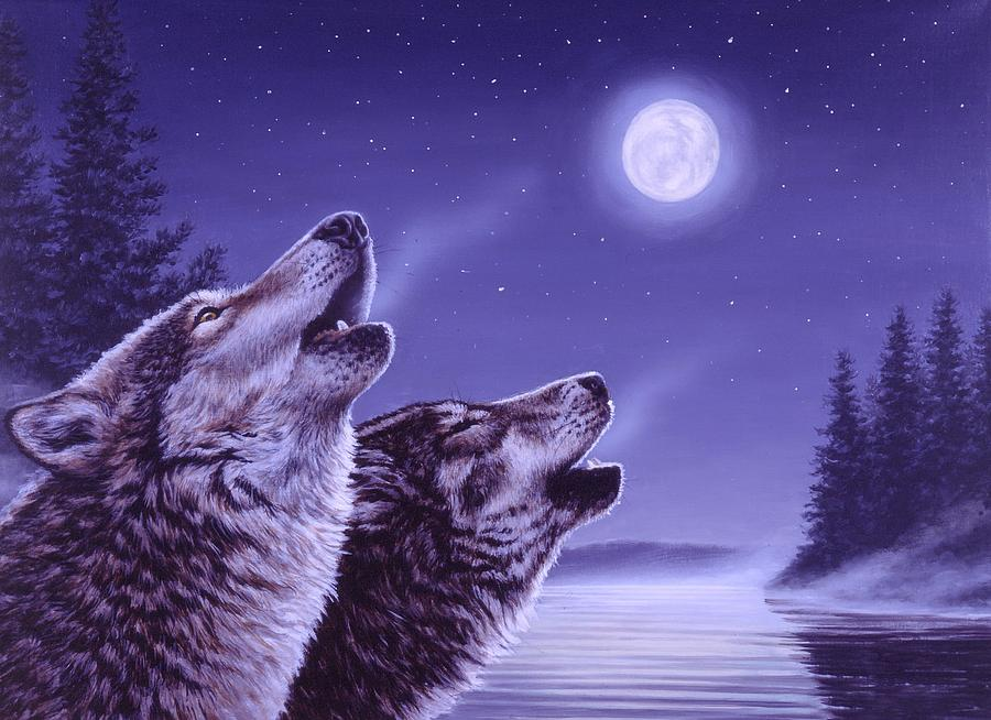 Wolf Painting - Song of the North by Richard De Wolfe