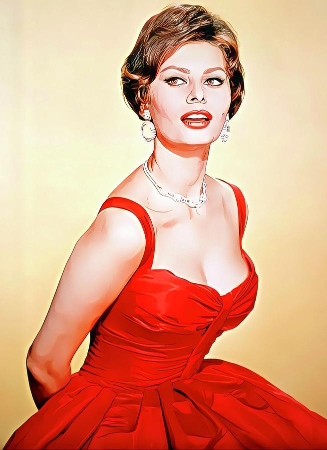 Italian Actress Painting - Sophia Loren Colour Portrait by Vincent