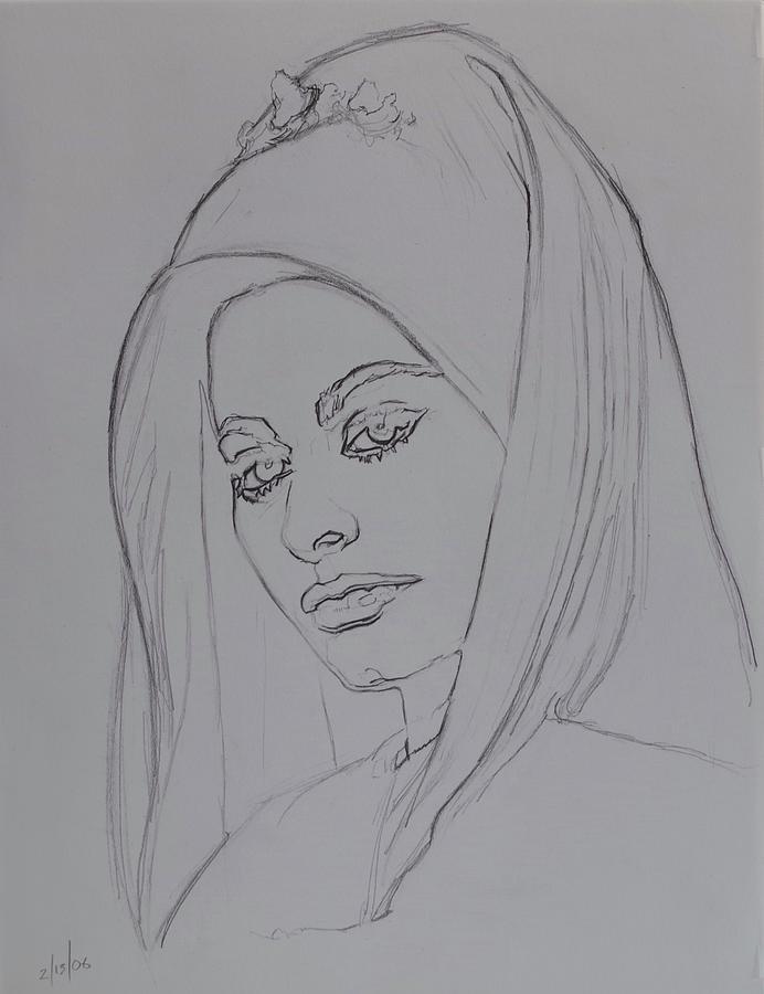 Woman Drawing - Sophia Loren In Headdress by Sean Connolly