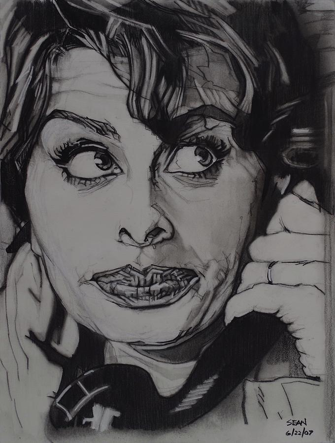 Classic Drawing - Sophia Loren Telephones by Sean Connolly