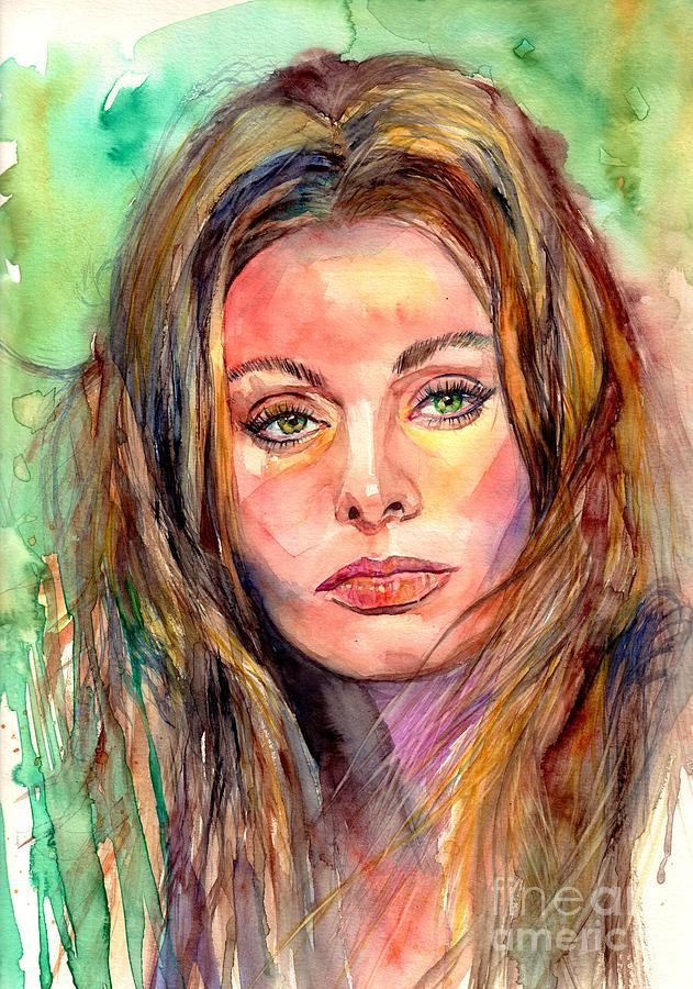 Cinema Painting - Sophia Loren Watercolor Portrait by Suzann Sines
