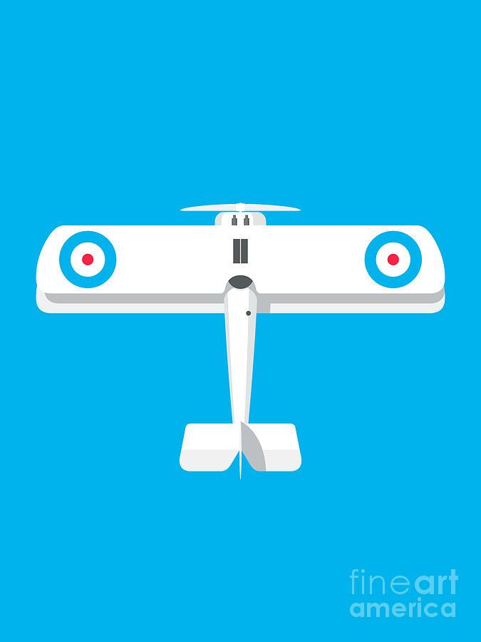 Aircraft Digital Art - Sopwith Camel WWI Biplane Aircraft - Cyan by Organic Synthesis