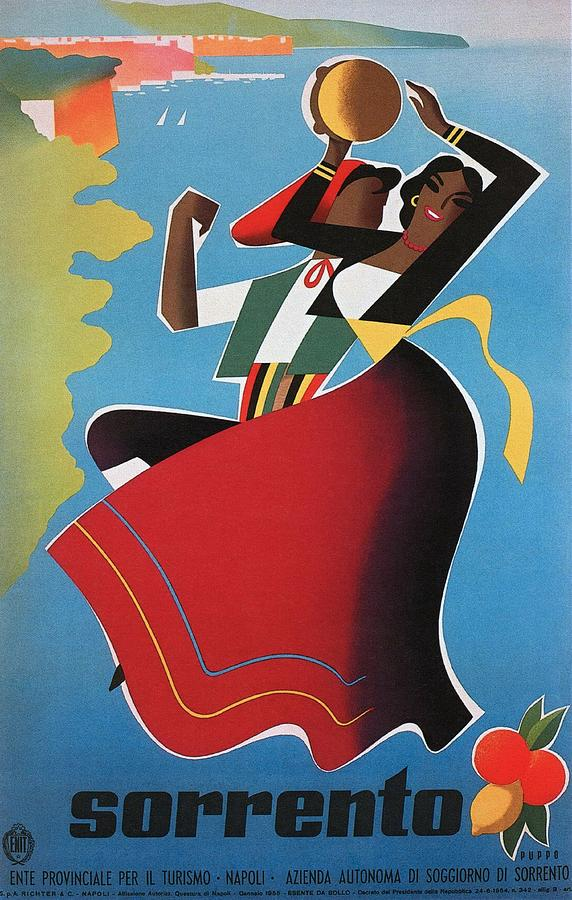 Vintage Painting - Sorrento Italy travel poster 1955 by Mario Puppo