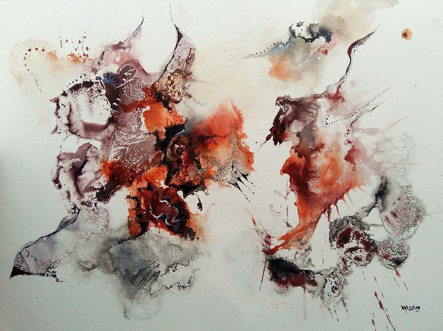 Abstract Watercolors Painting - Sorroga Mugara by Wolfgang Schweizer