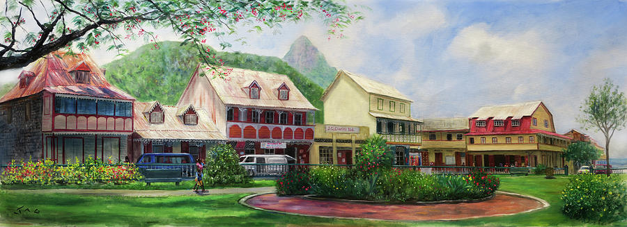 Soufriere Painting - Soufriere Square by Jonathan Gladding