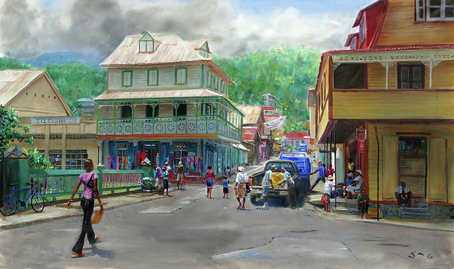Soufriere Painting - Soufriere Town by Jonathan Gladding