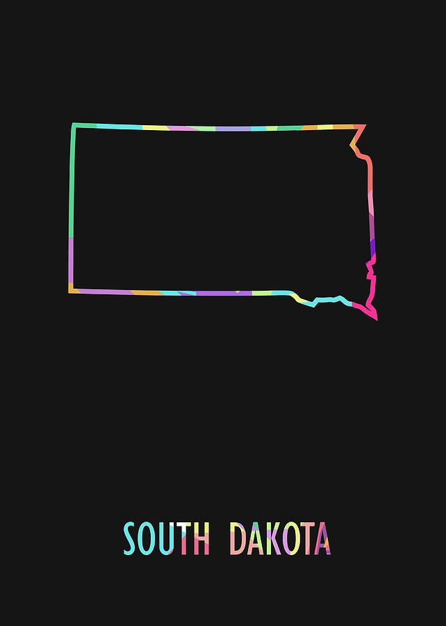 South Dakota Pop Art Map Black Bg Digital Art