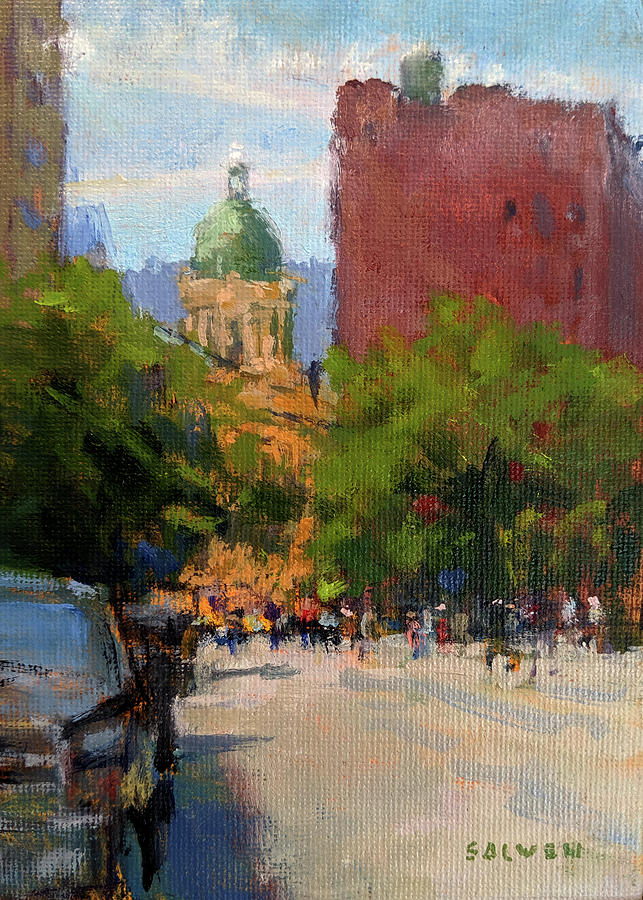Centre Street Painting - South from Cleveland Place on a Summer Morning by Peter Salwen