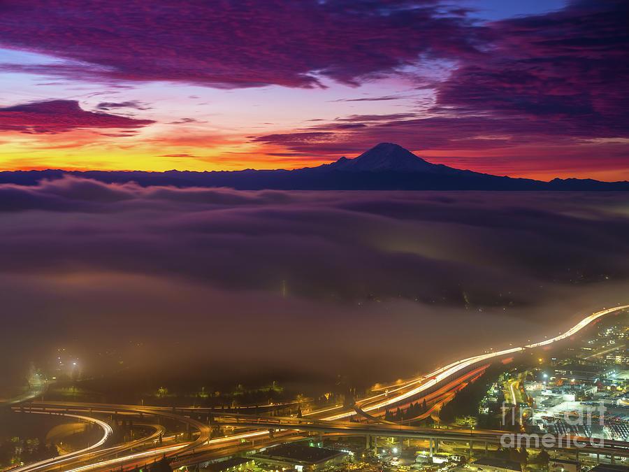 South Seattle Fog Waves Sunrise Photograph