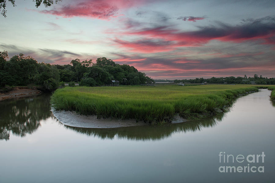 Southern Sunset Over Remleys Point In Charleston South Carolina - Lowcountry Gold Photograph
