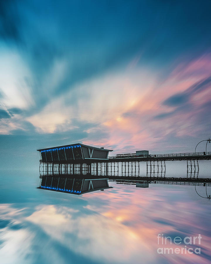 Southport Pier Sunset Reflections Photograph