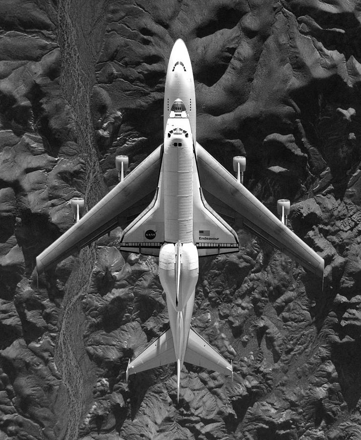 Space Shuttle Endeavor Mounted On 747 - 2008 by War Is Hell Store