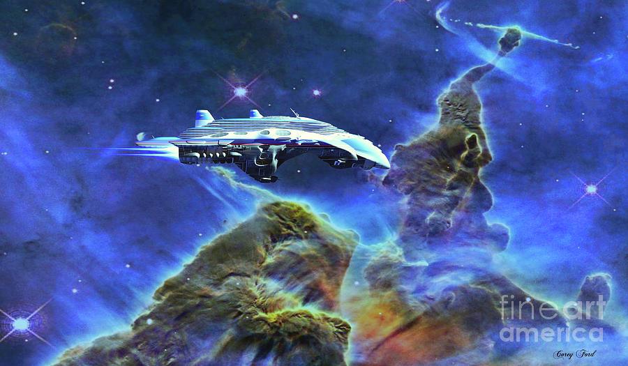 Spacecraft Visits Carina Nebula Digital Art