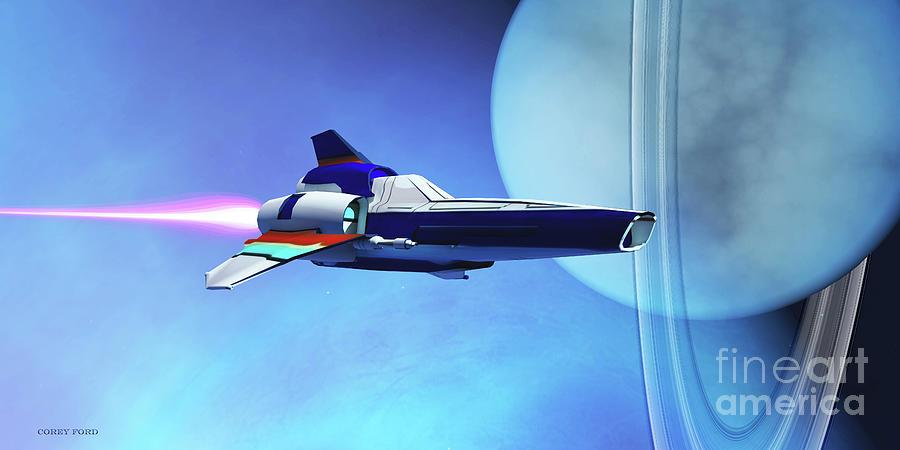 Spaceship Visits Uranus Digital Art
