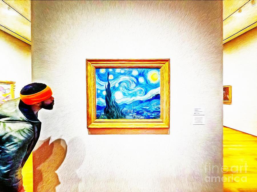 Spectator At A Museum Admiring Vincent Van Goghs Starry Night P Photograph