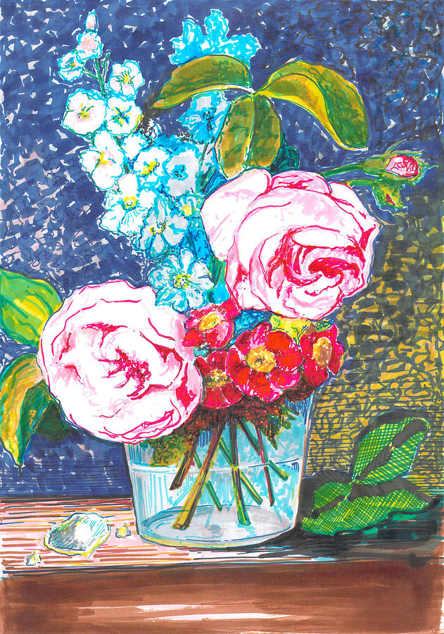 Roses Drawing - Spectrum roses by Eima BLANK