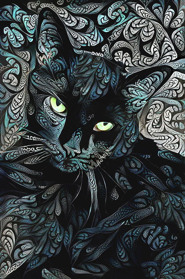Speedy the Black Cat - Blue by Peggy Collins
