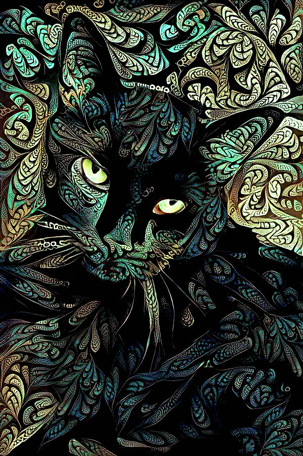 Speedy the Black Cat - Blue Green by Peggy Collins