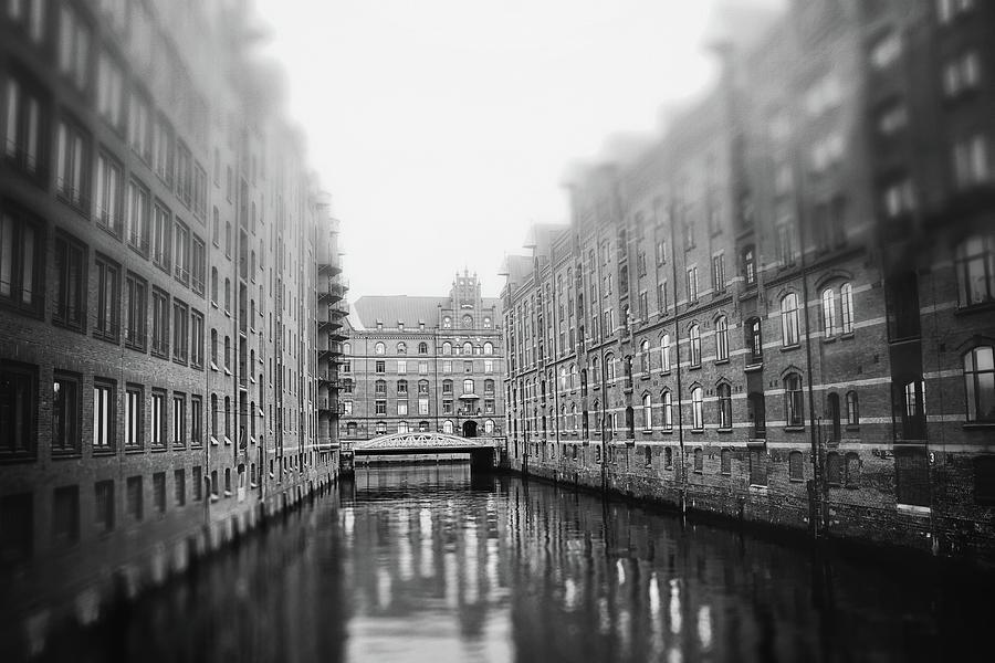 Speicherstadt Hafencity Hamburg Germany Black And White Photograph