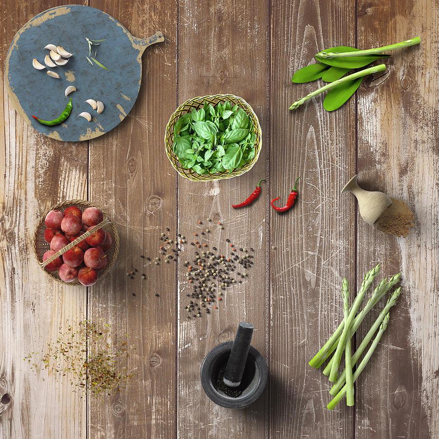Spices Herbs Vegetable On Wood by Johanna Hurmerinta