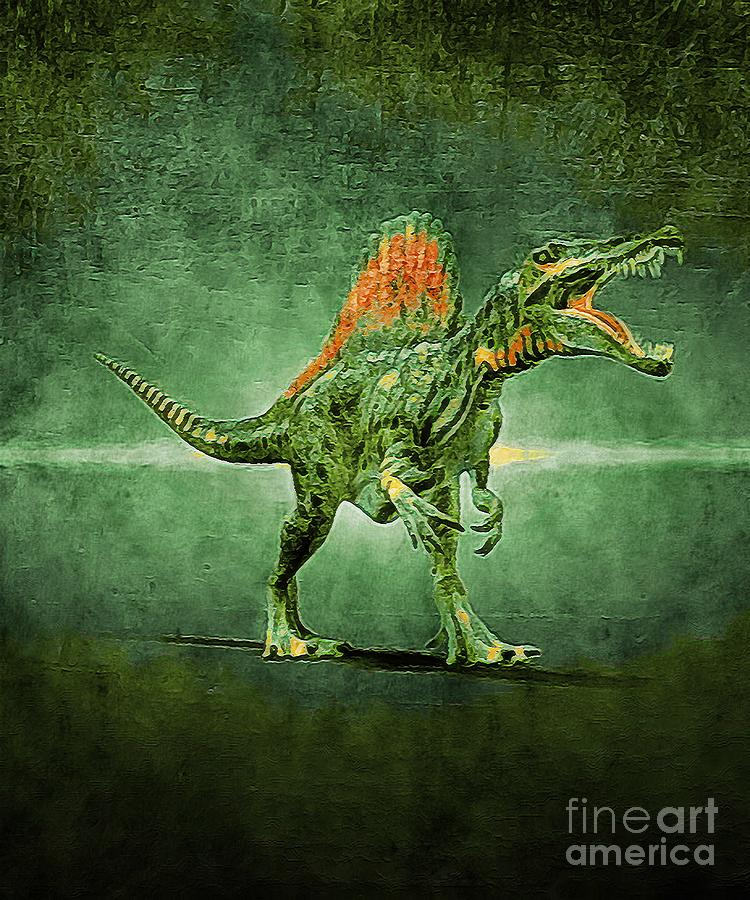 Dinosaurs Digital Art - Spinosaurus with an Abstract Green Effect by Douglas Brown