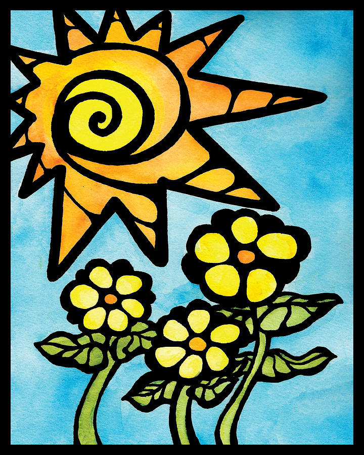 Spiral Sun And Happy Flowers Mixed Media
