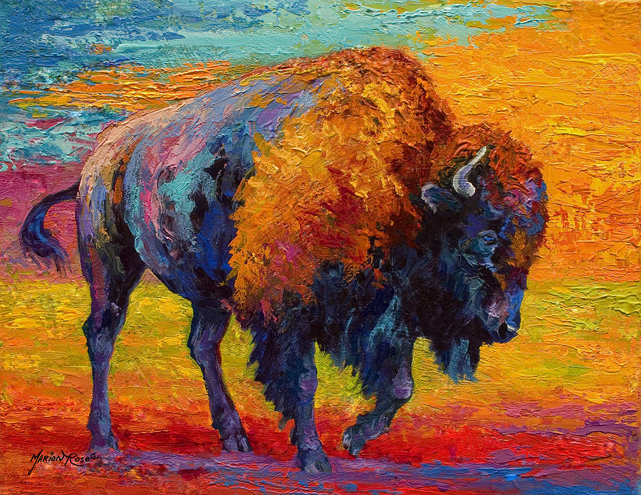 Bison Painting - Spirit Of The Prairie by Marion Rose