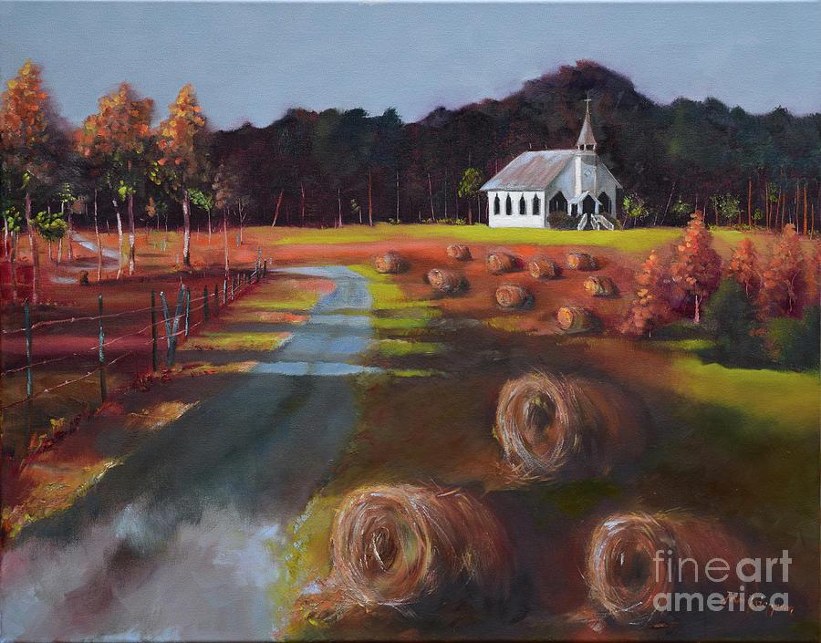 Spiritual Harvest - Levi Chapel - Hay Bales by Jan Dappen