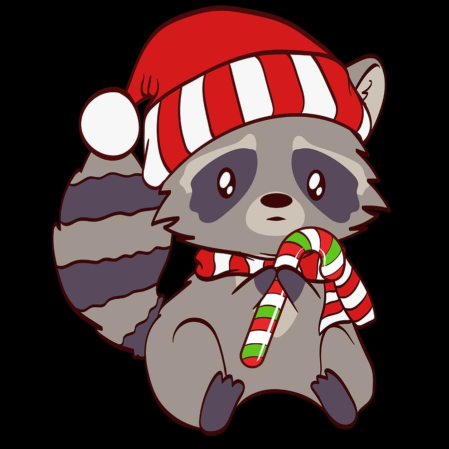 spiritual xmas animal tshirt design cute christmas cutie raccoon holding a sweet candy cane mixed media by roland andres spiritual xmas animal tshirt design cute christmas cutie raccoon holding a sweet candy cane by roland andres