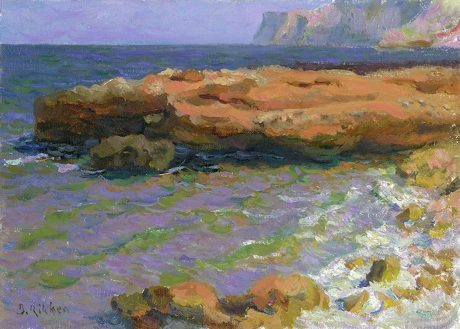 Seascape Painting - Spit at Les Rotes with breakers by Ben Rikken