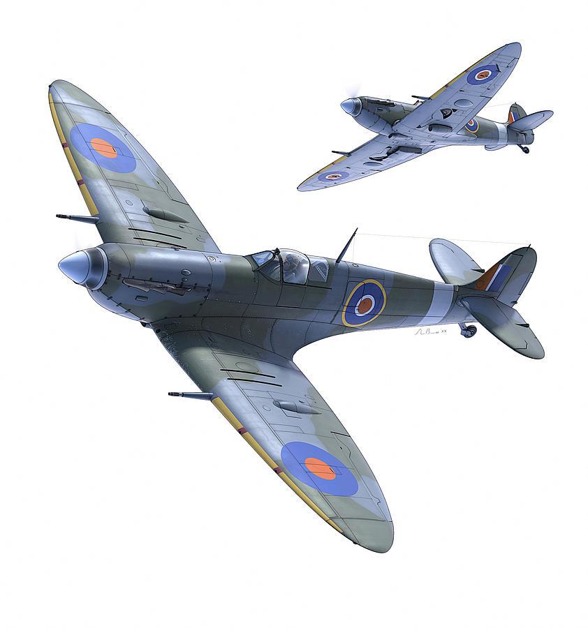 Spitfire Digital Art - Spitfires on White by Hangar B Productions