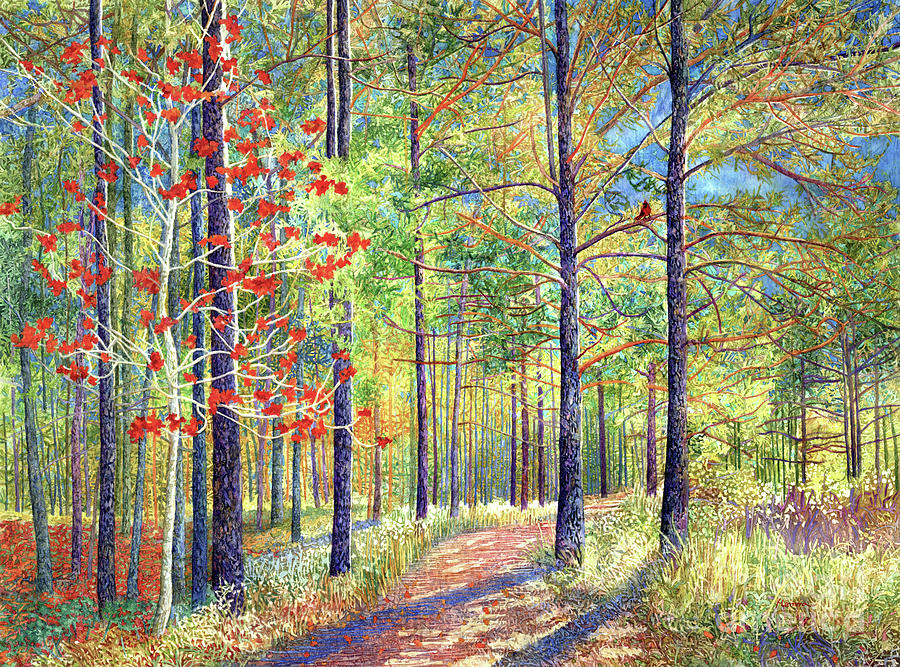 Splash Of Red, Mission Tejas State Park Painting