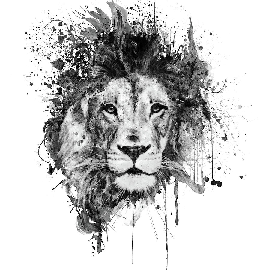 Splattered Lion Black and White Painting by Marian Voicu