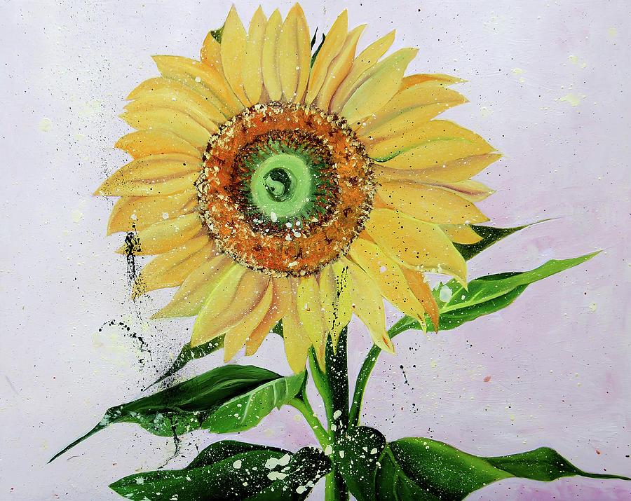 Splattered O'Keeffe Sunflower by Nila Jane Autry