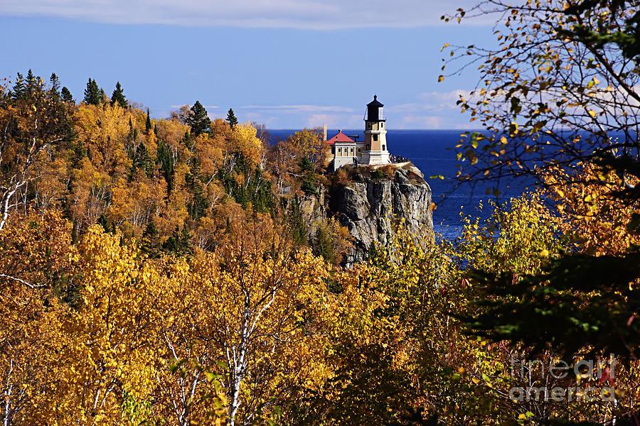 Split Rock Lighthouse in the Fall by Larry Ricker
