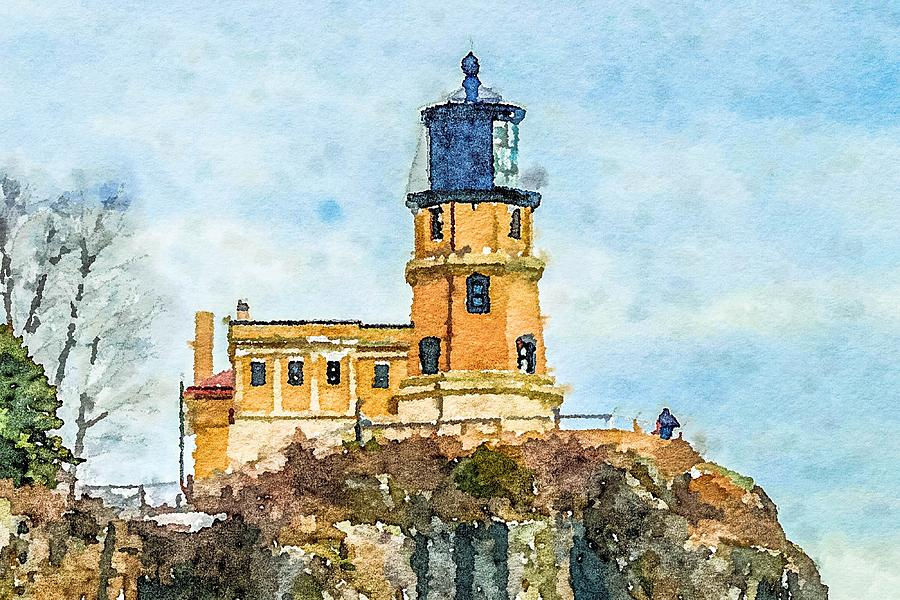 Split Rock Lighthouse Watercolor by Susan Rydberg